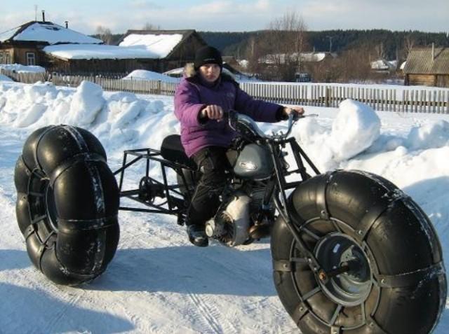 Как сделать снегоход на камерах своими руками